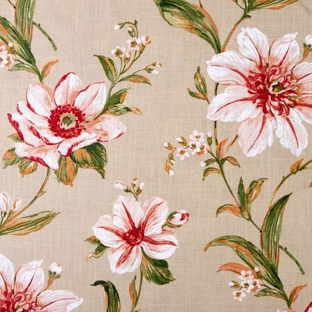 Fragment of colorful retro tapestry textile pattern with floral ornament and flowers useful as background
