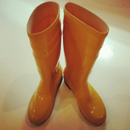 wear: A pair of yellow boots