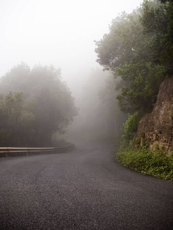Lonely mountain road covered with fog Archivio Fotografico