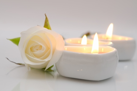 white rose and candles in the shape of heart