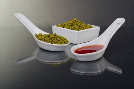 mongo: Mung beans in a ceramic bowl  Stock Photo