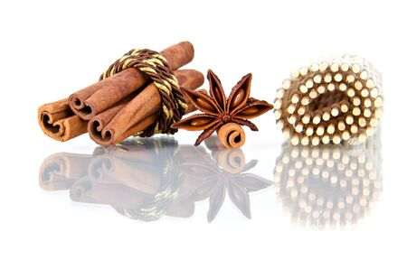 brownish: Star anise and cinnamon beer ingredients Stock Photo