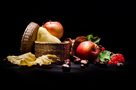 Still life with autumn fruits on black background photo