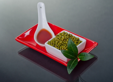 Mung beans in a ceramic bowl  photo