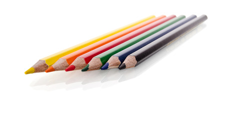 Beautiful multi-colored pencils isolated on white background photo