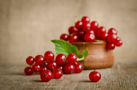 red currant: Red currant in wooden plate on the table