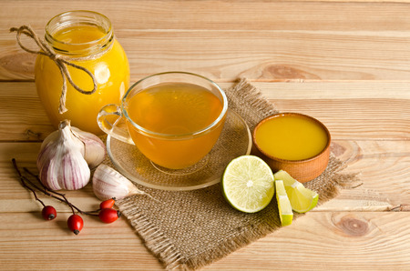 antimicrobial: Cup of tea with lemon slices . Home antimicrobial therapy