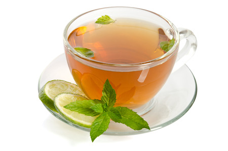 pekoe: Glass Cup Tea With Mint And Slices Of Lime