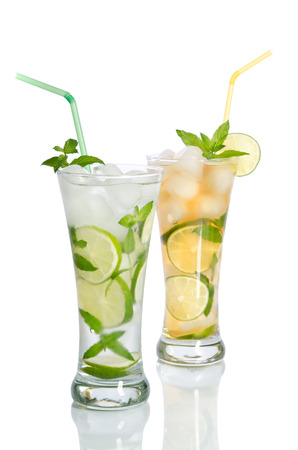 vin: two cold iced lemonade with straws and lemon slices Stock Photo