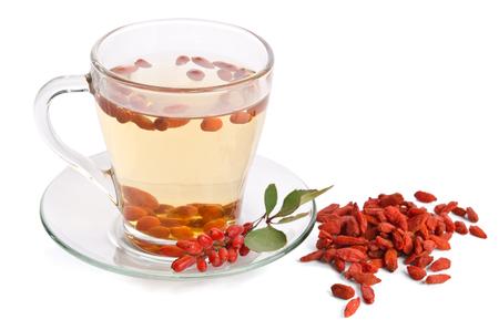 lycium: goji fresh antioxidant tea  isolated on white background Stock Photo