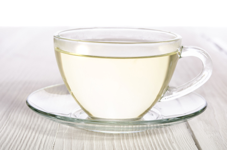 Cup of tea on the white wooden table