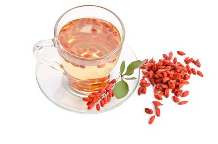 antioxidant: goji fresh antioxidant tea  isolated on white background Stock Photo