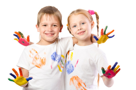 funny boy: Funny boy and girl with hands painted in colorful paint  isolated on white background Stock Photo