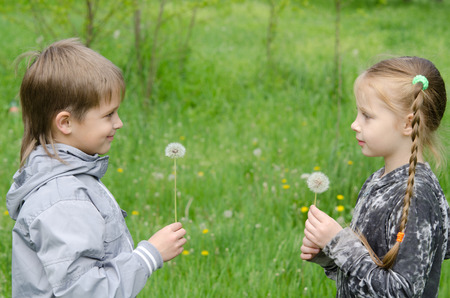 frendship: Boy and girl Standing In Field Showing Dandelions Stock Photo