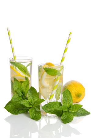 Summer lemonade with Lemon and mint isolated on white background Banco de Imagens