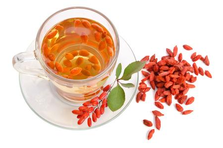 lycium: goji fresh antioxidant tea  isolated on white background. top view
