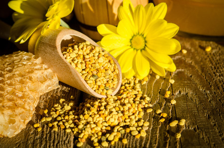 granules: Bee pollen granules  in wooden scoop, honeycombs and flowers on wooden table