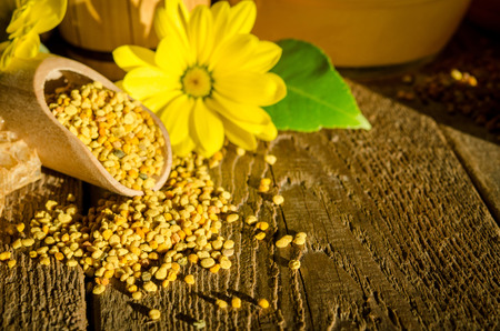Bee pollen granules in wooden scoop, honeycombs and flowers on wooden table