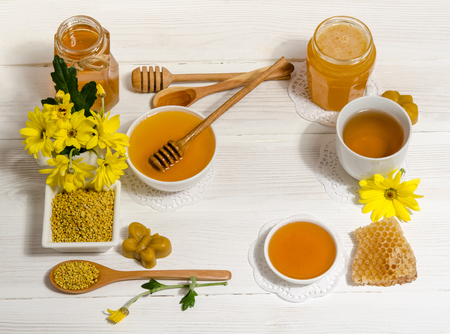 bee products on wooden table