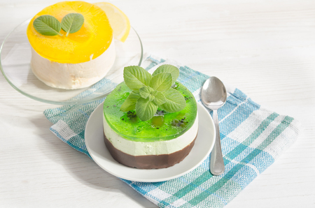 two cakes with lemon and mint