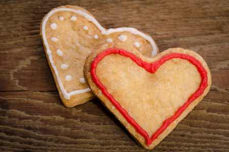 cookies-hearts on  wooden table Stock Photo
