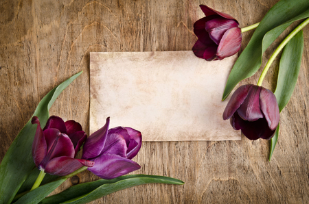 The old card and fresh tulips from two corners is lying on wooden background