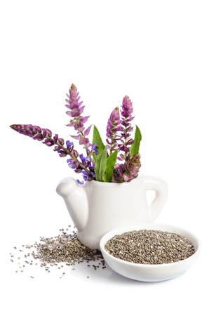 Chia seeds healthy superfood with flower isolated on white background 版權商用圖片