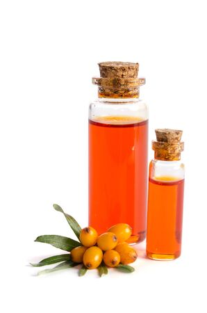 Sea buckthorn and two bottles with sea buckthorn oil isolated on white background  写真素材
