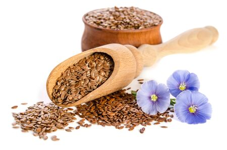 Flax seeds in the wooden scoop and  beauty flowers isolated on white background. Reklamní fotografie