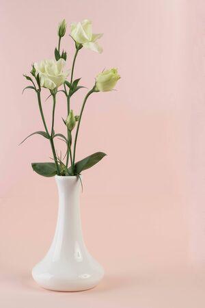 bunch of white eustoma flowers in glass vase Zdjęcie Seryjne