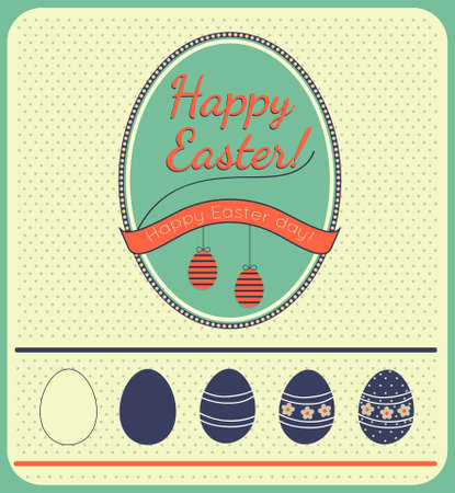 Happy easter cards illustration with easter eggs and fonts Vector