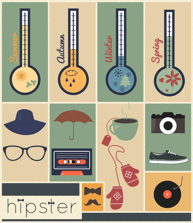 casual fashion: Hipster design season set, hipster casual fashion style