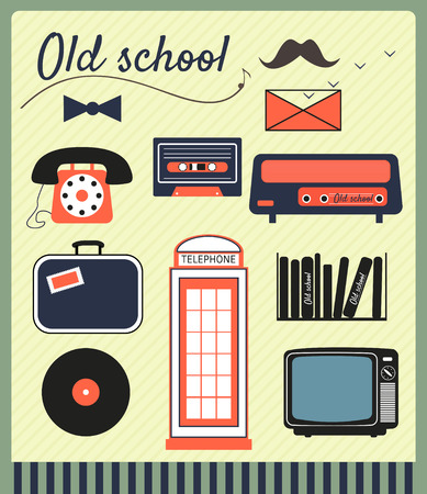 old school hipster vintage vector electronic items Vector