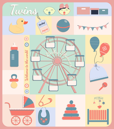 party poppers: Twins, baby boy and girl shower set of elements for design