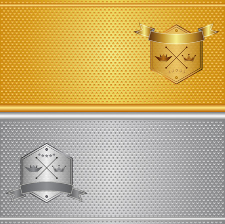 stitched: Aluminum and brass stitched textures, gold silver background, vector illustration