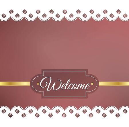 napkins: Welcome sign on a blurred background, floral napkins