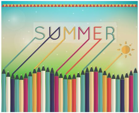 diffuse: Vector illustration of a glowing Summer time background, coloring pencils Illustration