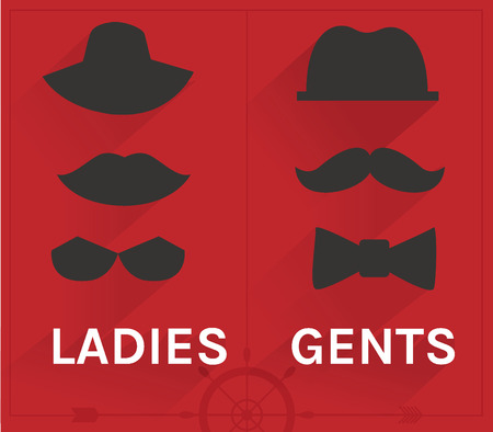 Vintage fashion ladies and gents hipster icon set Vector
