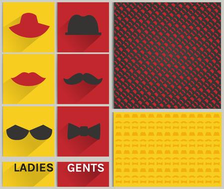 gents: Vintage fashion ladies and gents hipster pattern set Illustration