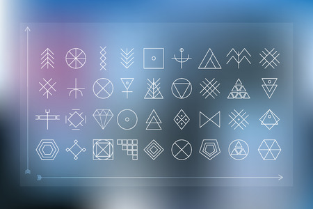 logotypes: Set of geometric shapes. Trendy hipster blur background and logotypes.
