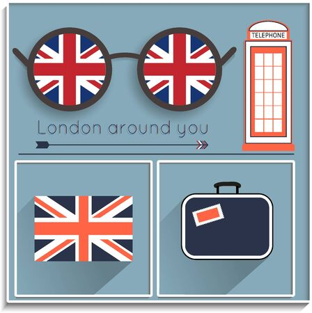 telephone booth: London around you, set of elements with an English flag, the journey to London. vector