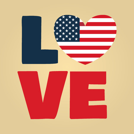 4th of july: Love USA, America, Happy Independence Day, July 4th, Fourth of July, American Flag Vector