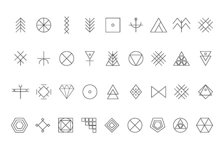 logotypes: Set of geometric shapes. Trendy hipster background and logotypes. Religion, philosophy, spirituality, occultism symbols collection
