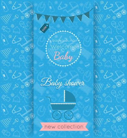 배경 흐리게 배경 및 아기 장난감 및 항목 원활한 패턴으로 벡터 아기 파란색 카드 일러스트