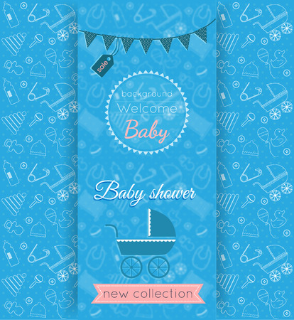 items: Vector baby blue card with blurred background and seamless pattern with babies toys and items on background