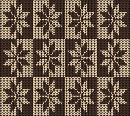 Fair Pattern sweater design on the wool knitted texture. Seamless Knitting Ornament