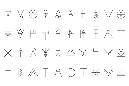 幾何学的図形のセットです。流行のヒップスターの背景とロゴタイプ。宗教、哲学、精神世界、神秘の記号のコレクション