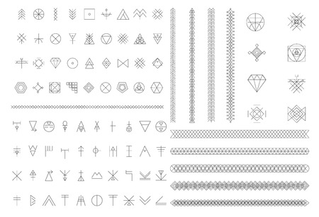 freemasonry: Set of geometric shapes. Trendy hipster background and logotypes. Religion, philosophy, spirituality, occultism symbols collection. linear icon Illustration