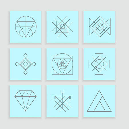 vintage element: Set of geometric shapes. Trendy hipster background and logotypes. Religion, philosophy, spirituality, occultism symbols collection