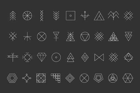 Set of geometric shapes. Trendy hipster background and logotypes. Religion, philosophy, spirituality, occultism symbols collection